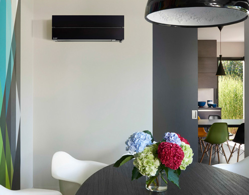 climsatisation par pompe a chaleur air air split noir design Mitsubishi Electric
